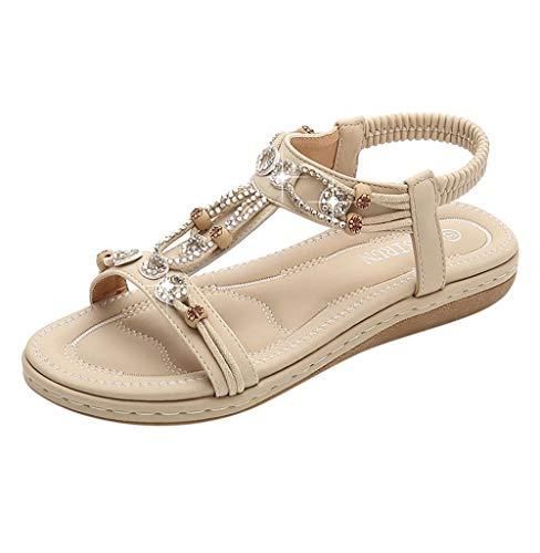 Gladiator T-strap Flachen Sandalen (Tomatoa-Sandals Damen Sommer Sommerschuhe Beach Sandal Flach PU Leder Zehentrenner Flip-Sandalen Sommer Strand Schuhe Böhmische Frauen Schuhe Freizeit Gr.35-42)