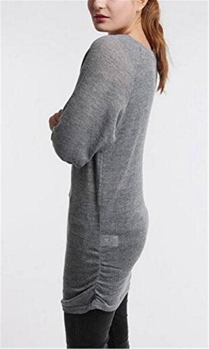AILIENT Long Femme Sweater Baggy Casual Col Rond Manches Longues Hauts Lâche Blouse Knitted Tops Couleur Unie Grey