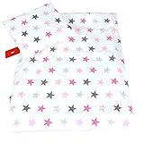 BABYLUX 2 tlg. Set Bezug für Kinderwagen Stubenwagen oder Wiege Garnitur Bettwäsche Kissen Decke 60 x 78 cm (93. Sterne Rosa)