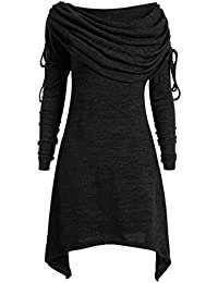 040fe4d97 Demana Winter Sweater Plus Size Womens Solid Pullover Ruched Long Foldover  Collar Tunic Long Top Blouse