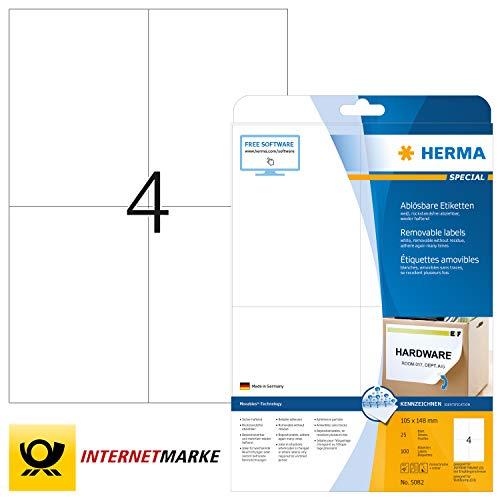 HERMA 5082 Universal Etiketten DIN A4 ablösbar, groß (105 x 148 mm, 25 Blatt, Papier, matt) selbstklebend, bedruckbar, abziehbare und wieder haftende Adressaufkleber, 100 Klebeetiketten, weiß