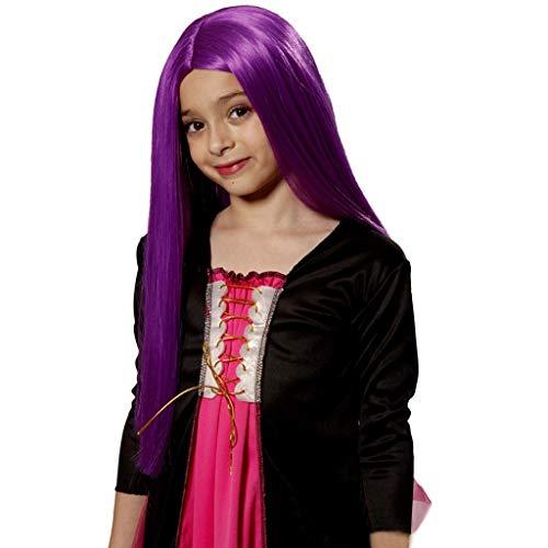 Unbekannt Perücke- Kinder Perücke, Cosplay Hexe Hexe Haar Set Abendkleid Party Fotografie Lange Gerade Haare Zeigen Perücke (Farbe : Purple)