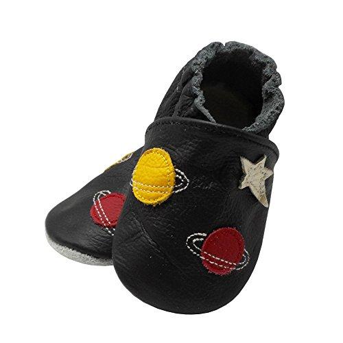 YangBaby Weicher Lederschuhe Unisex Baby Schuhe Lauflernschuhe Krabbelschuhe Babyhausschuhe Karikatur Planet Mehr Farben Schwarz