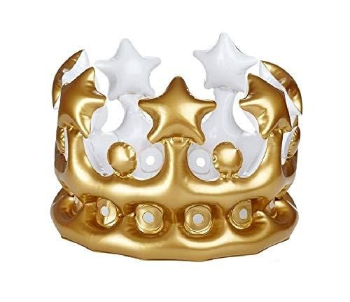 Sonnenscheinschuhe® Aufblasbare Krone Gold Karneval Fasching König Königin Verkleidung (Männer's Crown Royal Kostüm)
