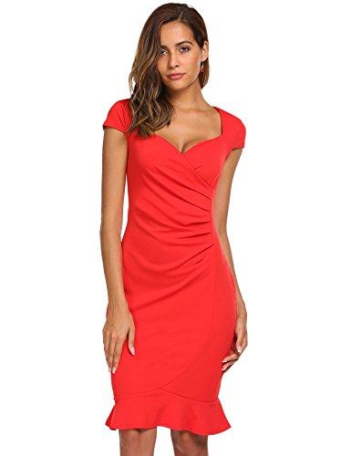 Meaneor Damen Meerjungfrau Rückenfreies Kleid Kurzarm Figurbetontes Cocktailkleid Bodycon Knielang Businesskleid (XXL, Rot) Meerjungfrau Kleid Muster