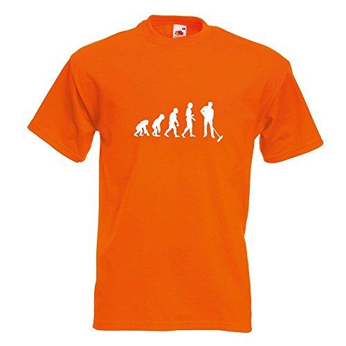 KIWISTAR - Evolution Straßenreiniger T-Shirt in 15 verschiedenen Farben - Herren Funshirt bedruckt Design Sprüche Spruch Motive Oberteil Baumwolle Print Größe S M L XL XXL Orange