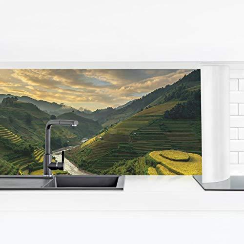 Bilderwelten Küchenrückwand Panorama Folie Bad - Reisplantagen in Vietnam Premium 50 x 175 cm