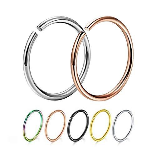 New Damsel 1pc 18g 20g Einfache Edelstahl-Band-Nasen-Ring Piercing Tragus Gefälschte Septum Split Ring Helix-Piercing Körper-Schmuck, Silber, 1.0mm-6mm