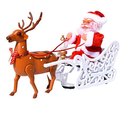 Yuii Elektro-Weihnachtsmann-Ren-Schlitten Weihnachten Vater-Musik-Puppe-Plüsch-Spielzeug aus Plastik batteriebetriebene Weihnachtskinder-Neuheit-Dekoration Ornamente