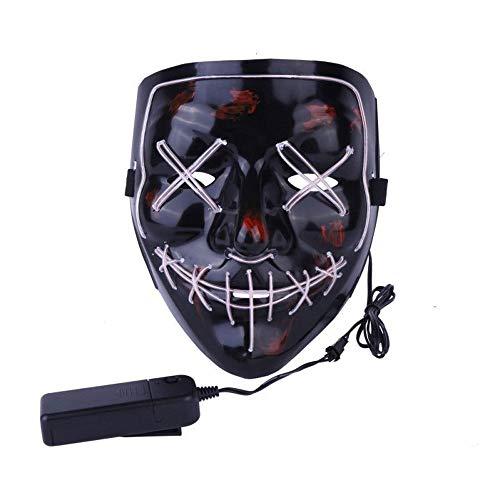 JFSKD Halloween Maske LED Schwarz V Gesicht Horror Maske Halloween Karneval Karneval Party Kostüm Cosplay Dekoration,White (Grabstein Halloween Formen)