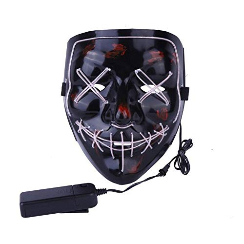 e LED Schwarz V Gesicht Horror Maske Halloween Karneval Karneval Party Kostüm Cosplay Dekoration,White ()