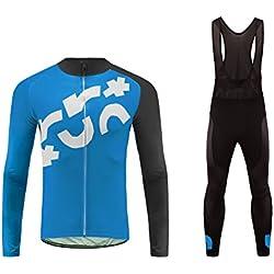 Future Sports UGLYFROG Hombres de Invierno de Lana Térmica Ciclismo Conjunto de Ropa de Manga Larga con Pantalones de Pantalón Acolchado 3D
