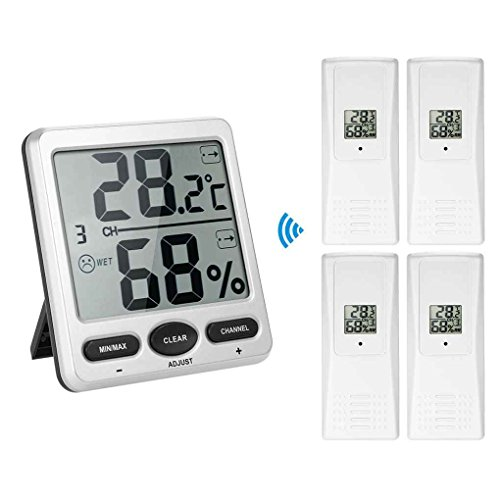 Mengonee 1 bis 4 Digit 8-Kanal-Thermo-Hygrometer Konsole Receiver Remote Sensor Emitter Wireless Digital LCD ° F ℃ (Remote Temperatur-sensor Wireless)