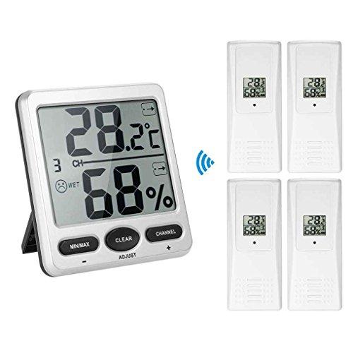 Mengonee 1 bis 4 Digit 8-Kanal-Thermo-Hygrometer Konsole Receiver Remote Sensor Emitter Wireless Digital LCD ° F ℃ (Sensor Wireless Thermometer Remote)