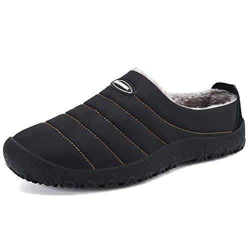 SPEEDEVE Pantofola Invernale Uomo Donna all'aperto/Interno Pantofola Casa Scarpe di Cotone Nero