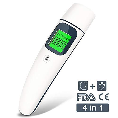 Fieberthermometer für Ohr,DIAOCARE Digital Infrarot Fieberthermometer Ohrthermometer Stirnthermometer mit Fieberwarnung,Sofortiges Lesen,Fieberthermometer Baby Kinder Erwachsenen,CE/FDA Zertifiziert