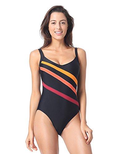 Delimira Damen Einteiler Badeanzug - Gestreift Schwimmanzug Schale Slim Bademode Schwarz 46