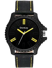 Grandlay mg-3083 black dial with black strap stylish watch for menz