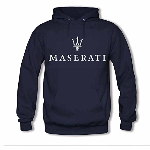 Womens Hooded Sweatshirt - Maserati Logo Printed Cotton Hoodies 3XL