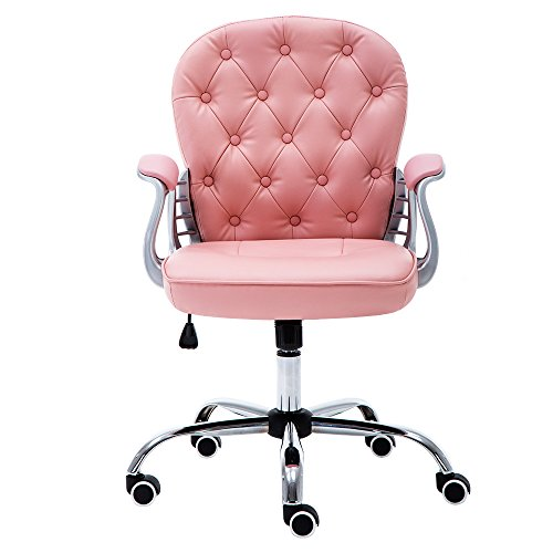 JL Comfurni Bürostuhl aus Kunstleder, Drehstuhl, höhenverstellbarer Schreibtischstuhl rose -