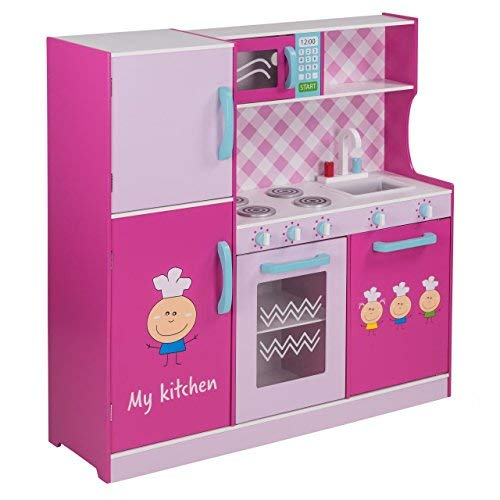 Froggy cucina giocattolo per bambina bambini bimbi cucina gioco legno grande 105 x 100 x 30 cm rosa