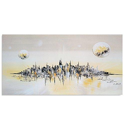 Feeby Frames, Tableau mural, Tableau Déco, Tableau imprimé, Tableau Deco Panel, 50x100cm (VILLE ABSTRACTION, BLANC, GRIS, JAUNE)