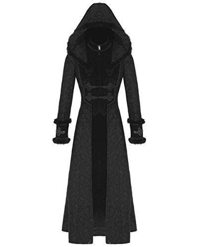 rq bl schwarz legion damen mantel lange jacke mit kapuze aus samt gothic steampunk stil jetzt kaufen. Black Bedroom Furniture Sets. Home Design Ideas
