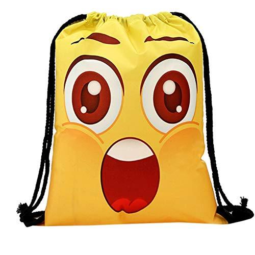 erthome Frauen-Rucksack-Speicher-Bündel-Seil-lustiges niedliches Muster-Einkaufstasche Tasche PU-Leder Geldbörsen und Frauen Handtaschen Scherbe (B)