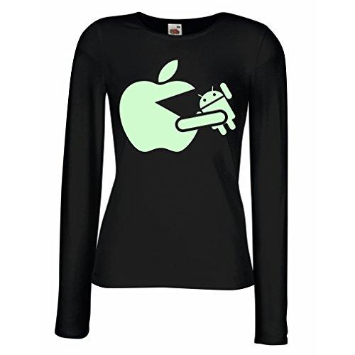Weibliche Langen Ärmeln T-Shirt Lustiger Apfel isst einen Roboter - Geschenk für Tech-Fans (Small Schwarz Fluoreszierend)