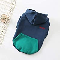 RONSHIN Hooded Coat Puppy Clothes Outfit Hoodies Pug Sweater Jacket Pet Clothes for Small Dogs Bulldogs blue S