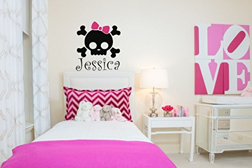 wandaufkleber 3d schlafzimmer Girly Pirate Decal With Pink Bow punk rock pirate girl vinyl decal Rosa Punk Pirate