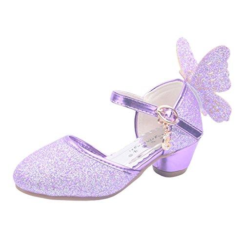 O&N Prinzessin Gelee Partei Absatz-Schuhe Sandalette Stöckelschuhe für Mädchen mit Schmetterling Design