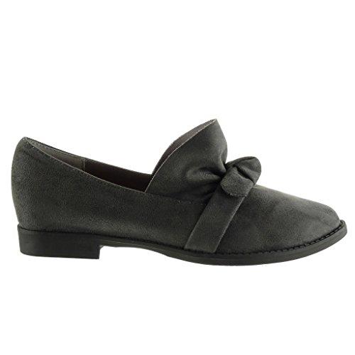 Angkorly - Chaussure Mode Mocassin femme noeud Talon bloc 2 CM Gris