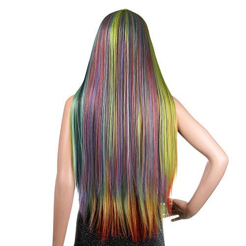 WigClub Regenbogen Farbe Lace Front Perücken Bunte Synthetische Haar Lange Gerade Hitzebeständige Kostüm Party Frauen Perücke ()