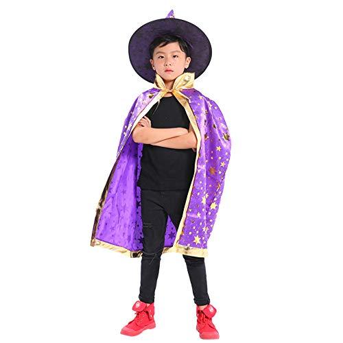 en Kleidung,Niedlich Kinder Erwachsene Kinder Halloween Baby Kostüm Zauberer Hexe Mantel Cape Robe + Hat Set Freie Größe ()