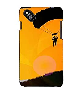 Fuson Designer Back Case Cover for Micromax Bolt D303 (Person flying with parachute)
