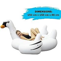Cisne blanco hinchable de gran tamaño. Colchoneta divertida, ideal para la playa y la piscina. De 6 años en adelante