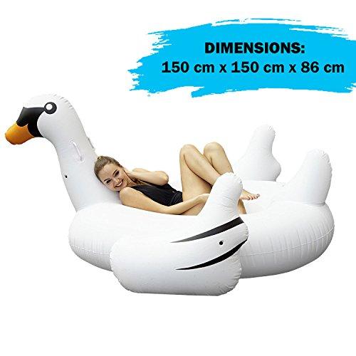 Cigno bianco gonfiabile di grandi dimensioni - divertente materassino giocattolo - ideale per la spiaggia e la piscina - dai 6 anni in su