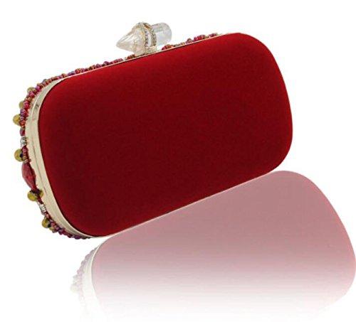 Nuovo Retrò Lusso Diamante Mano Perline Borsa Da Banchetto Frizione Confezione Da Sposa Red