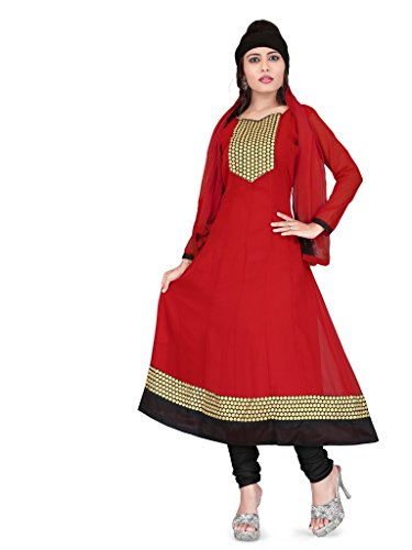 Parinaaz Women's Georgette Embroidered Unstitched Anarkali Dress Material (Maroon)  available at amazon for Rs.819