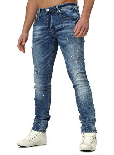 Dur Soda Homme Jeans ANGERS avec Farbflecken Mince Fit détruit Effekte Logo pièce Bleu