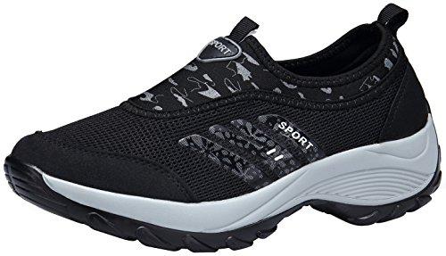 DENGBOSN Damen Mesh Sneaker Laufschuhe Turnschuhe Atmungsaktive Schnür Schuhe Leicht Sportschuhe,XZ003-black-EU Grösse 38,Asia Grösse 39
