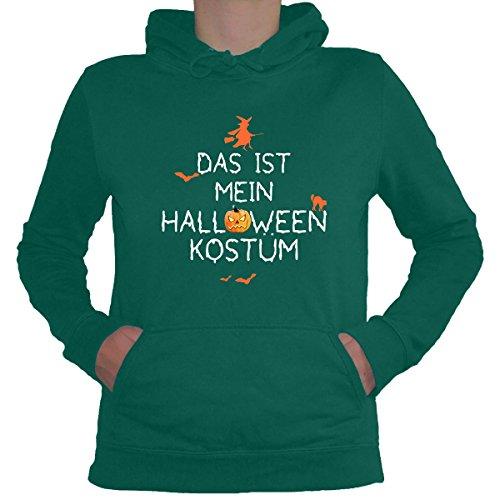 Kostüm Jade Womens - Shirtfun24 Damen DAS IST Mein Halloween KOSTÜM Fun Lady Hoodie Jade grün, XXL