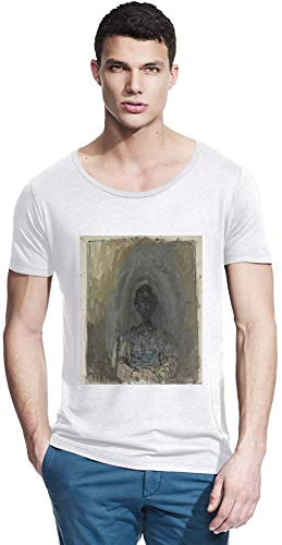 Wide Neck Tee (Top Paintings of All Time Alberto Giacometti - Woman's Head (Annette) Painting Men Bamboo Wide Neck T-Shirt Stylish Fashion Fit Custom Apparel by Small)