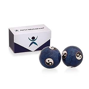 Meditation Qi-Gong-Kugel Paar mit Klangwerk | Klangkugeln | Yin Yan | Design YING YANG BLAU | mit hochwertiger und wiederverschließbaren Aufbewahrung Magnetbox