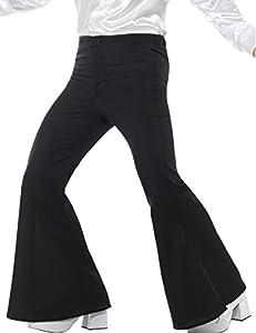 "Smiffys-48191L Pantalones de Campana para Hombre, Color Negro, L - Tamaño 42""-44"" (Smiffy"