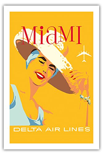 Vintage Anzeigen Florida (Miami, Florida - Delta Air Lines - Vintage Retro Fluggesellschaft Reise Plakat Poster c.1960s - Premium 290gsm Giclée Kunstdruck - 61cm x 91cm)
