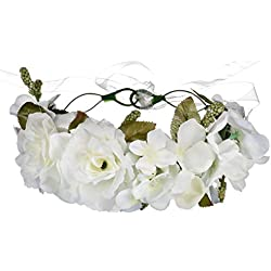 DUOMING Garland Headwear Accesorio para la Cabeza Headwear Diadema Flor Pelo Boda Guirnalda Headwear Romántico Rosa Guirnalda Tocado (Color : Blanco)