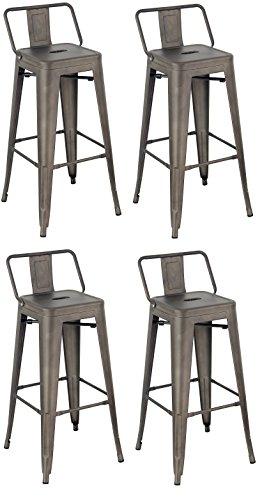 La Chaise Espagnole - Lot de 4 Tabourets de style Tolix avec dossier, Acier Brossé, Gris, 94x44,5x44,5