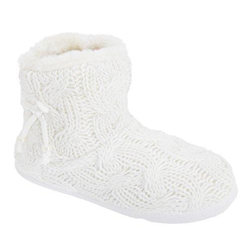 Chaussons bottes en fausse fourrure - Femme Blanc